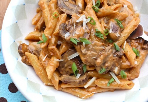 "<span class=""p-name"">Penne Pasta with Portobello Mushroom Sauce</span>"