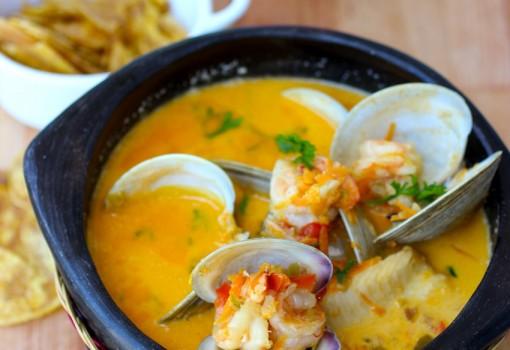 "<span class=""p-name"">Cazuela de Mariscos (Seafood Stew)</span>"