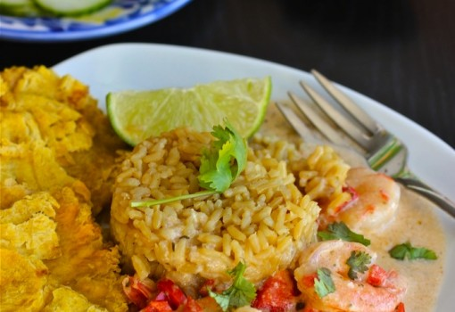 "<span class=""p-name"">Camarones a la Criolla con Coco (Creole and Coconut Shrimp)</span>"