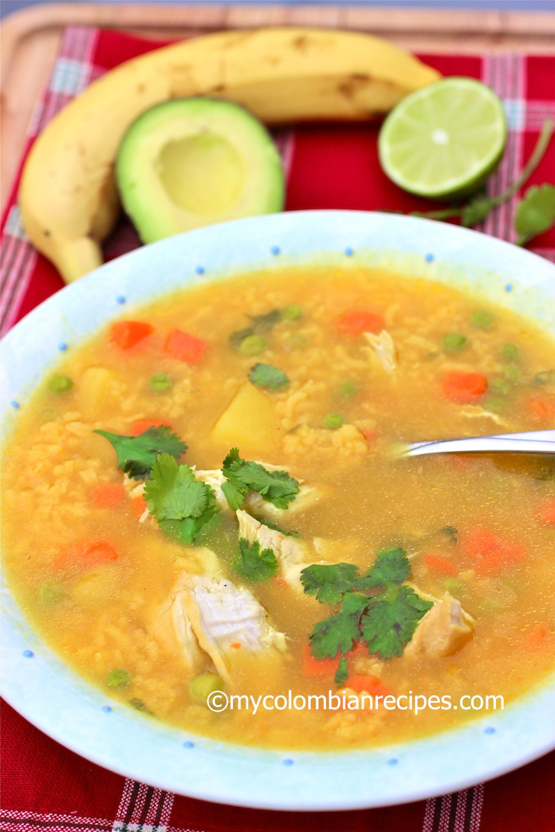 Sopa de Arroz con Pollo-Colombian Chicken and Rice Spoup