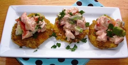Patacones con Camarones Y Aguacate or Green Plantains with Shrimp
