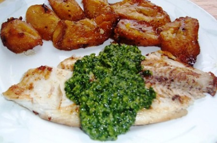 Grilled Tilapia with Cilantro Pesto