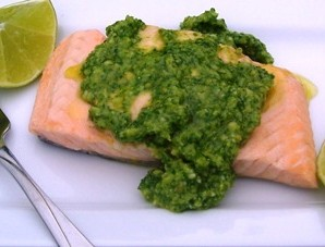 Salmon with Arugula Pesto