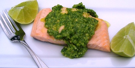 "<span class=""p-name"">Poached Salmon with Arugula Pesto</span>"