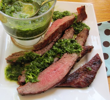 Steak with chimichurri 235