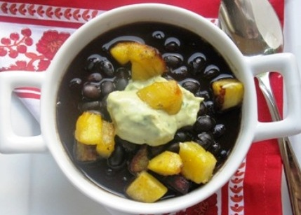Black Bean Soup with Sweet Plantain and Avocado-Cumin Cream