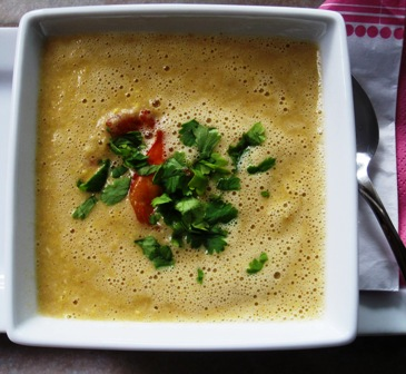 Calabaza, Corn, And Coconut Soup Recipe — Dishmaps