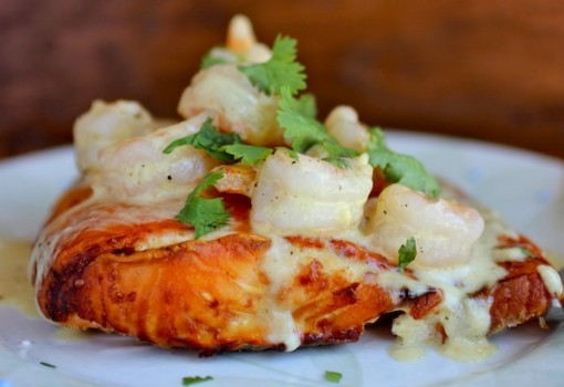 Salmon with Shrimp Sauce
