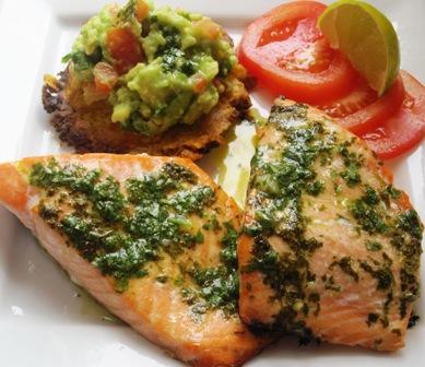 Salmon con salsa de cilantro