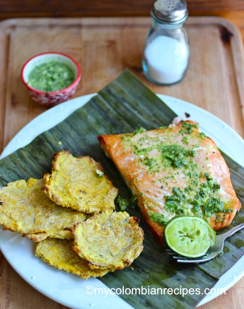 Salmon with cilantro and Parsley Oil