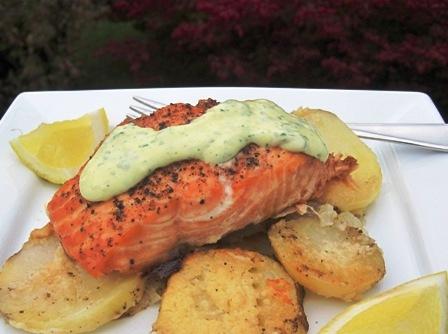 "<span class=""p-name"">Salmon with Mustard- Herb Sauce</span>"