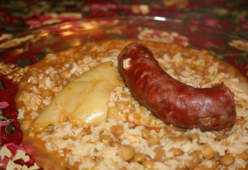 Lentils with rice and Spanish chorizo sausage(Lentejas con Chorizo)
