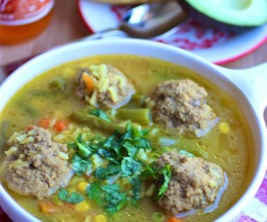 meatballs and rice soup