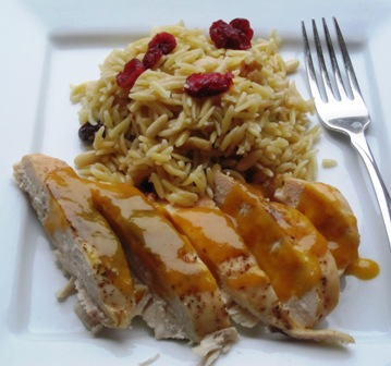 "<span class=""p-name"">Chicken with Passion Fruit Sauce over Dried Fruit and Nuts Orzo</span>"