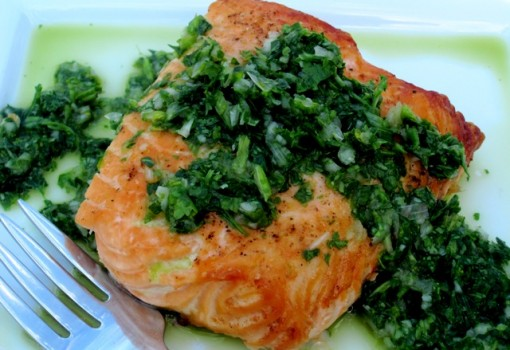 "<span class=""p-name"">Salmon with Chimichurri Sauce</span>"