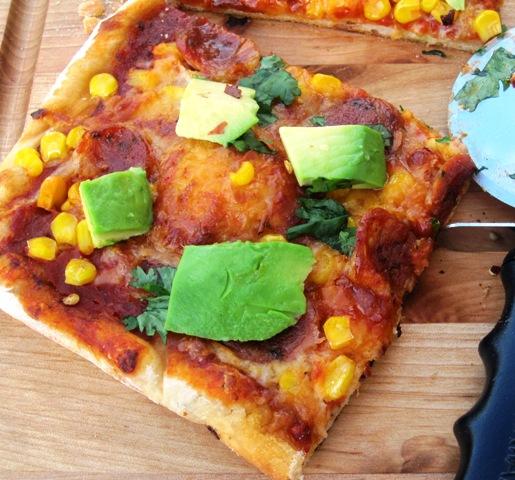 Pizza Colombiana sliced