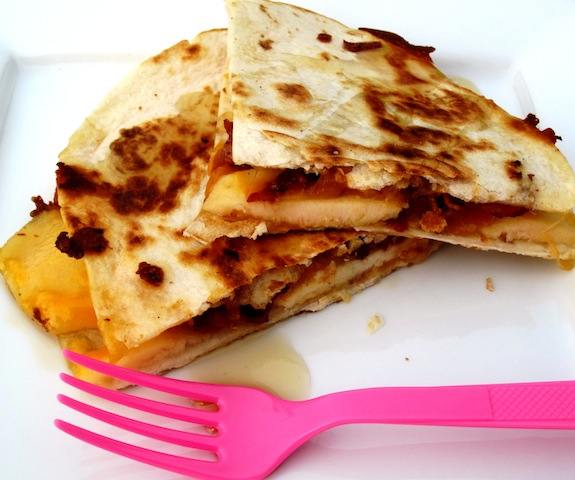 Apple-bacon and cheddar Quesadilla