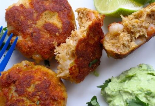 Shrimp and Tuna Cakes with Avocado Sauce