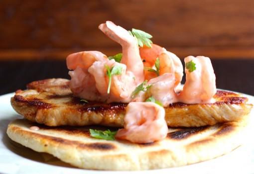 "<span class=""p-name"">Arepa con Cerdo y Camarones (Arepa with Pork and Shrimp)</span>"