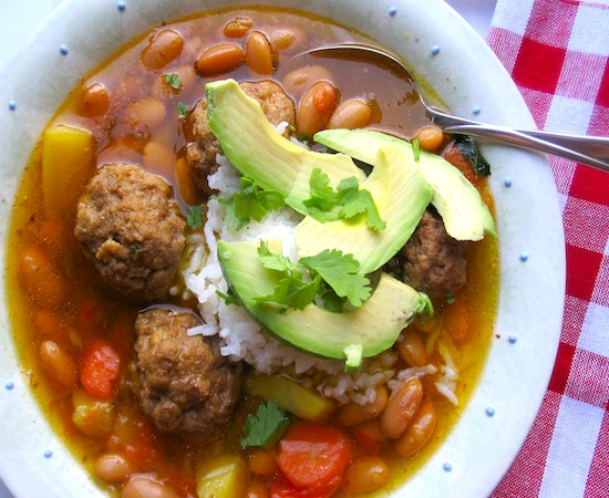 Canary Bean Soup with Meatballs