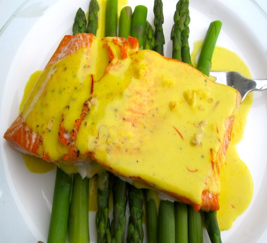 Salmon with Coconut-Saffron Sauce