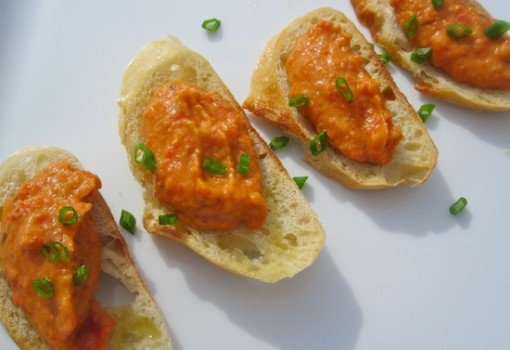 Bean and Roasted Pepper Crostini