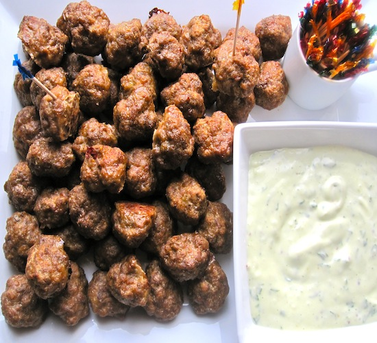Mini Meatballs with Basil-Garlic Sauce