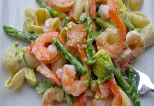 "<span class=""p-name"">Pasta Salad with Shrimp, Avocado and Asparagus</span>"