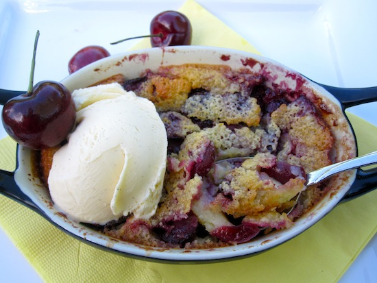 Cherry Clafoutis with Ice cream