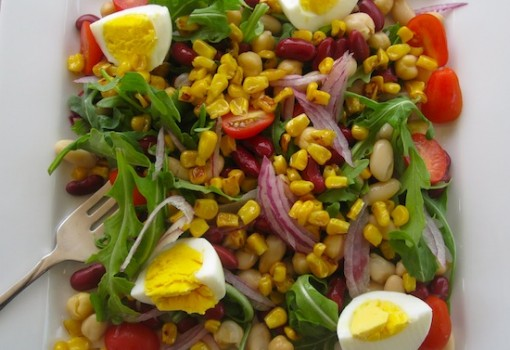 "<span class=""p-name"">Arugula, Corn, Egg and Bean Salad</span>"