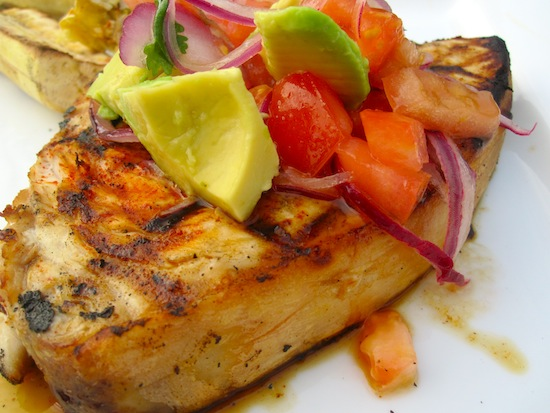 Swordfish with avocado Salsa
