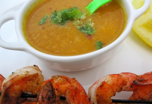 Shrimp Skewers with Mango Sauce