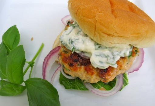 "<span class=""p-name"">Salmon Burgers with Basil-Garlic Mayo</span>"