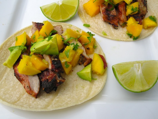 Pork Tacos with Mango and Avocado Salsa