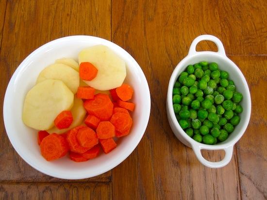 Peas, carrots and Potatoes