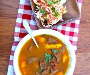 Red Bean Soup with Beef and Pumpkin |mycolombianrecipes.com