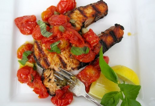 "<span class=""p-name"">Salmon Steaks with Roasted Grape Tomatoes</span>"