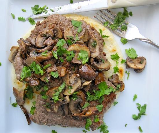 Arepa with mushrooms
