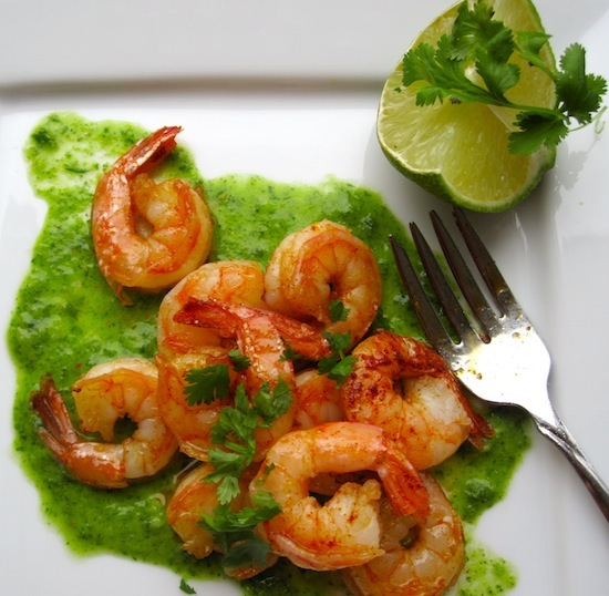 Shrimp with Cilantro-Parsley sauce
