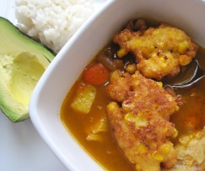 Bean Soup with Corn Fritters