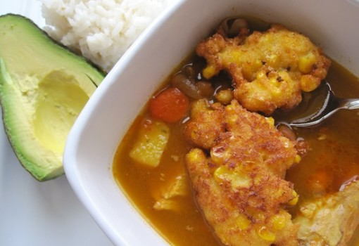 "<span class=""p-name"">Frijoles Verdes con Torticas de Choclo (Bean Soup with Corn Fritters)</span>"