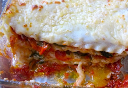 "<span class=""p-name"">Meatless Roasted Vegetables Lasagna</span>"