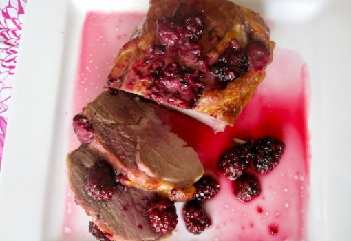 "<span class=""p-name"">Lomo de Cerdo con Salsa de Moras (Pork Loin with Blackberry Sauce)</span>"