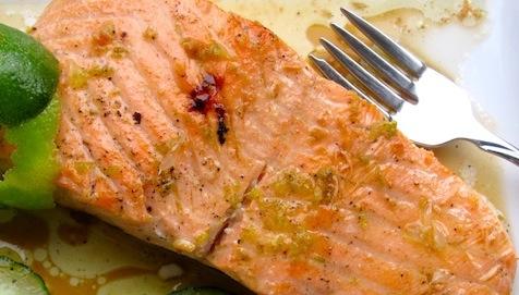 "<span class=""p-name"">Salmon with Lime – Sherry Sauce</span>"