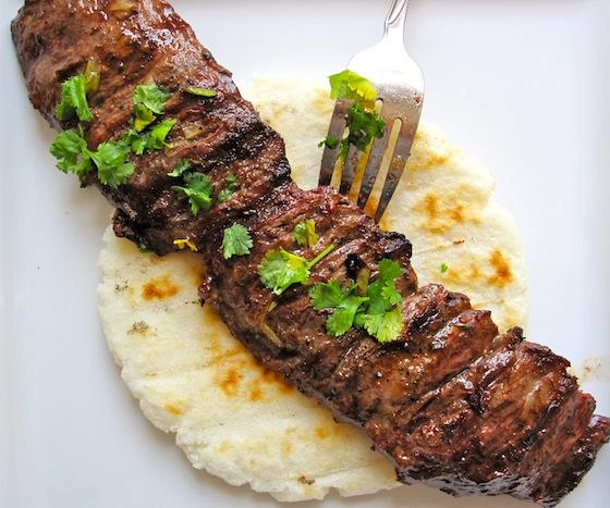 Arepa con Carne Asada-Colombia