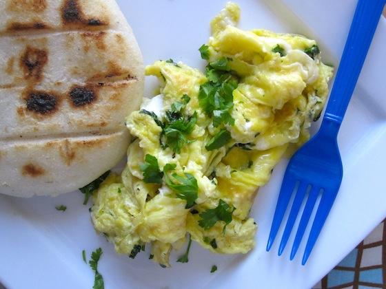 Huevos revieltos con Cilantro