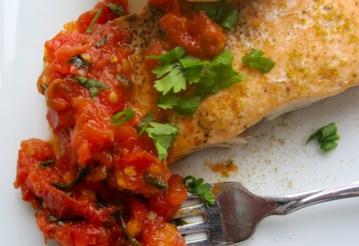Salmon con Hogao (Salmon with Colombian-Creole Sauce)