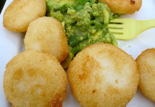 "<span class=""p-name"">Arepitas Fritas con Guacamole (Fried Mini Arepas with Guacamole)</span>"