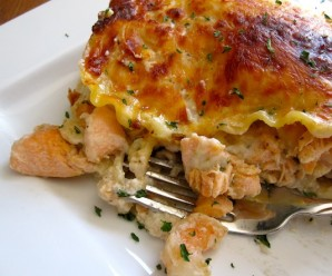 shrimp and salmon lasagna