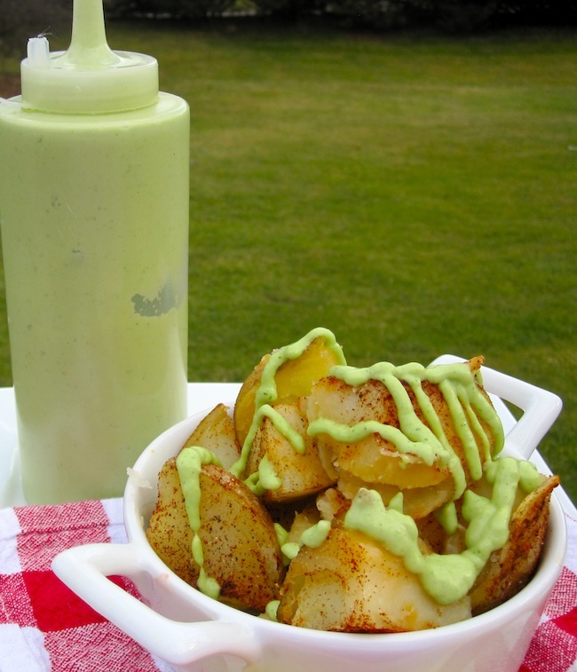 potatoes with avocado sauce
